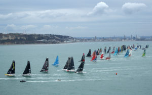 11th Hour Racing Team line up against the IMOCA 60 fleet for the start of the 2019 Transat Jacques Vabre.