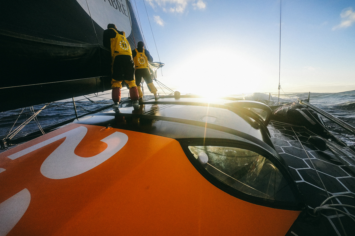 11th Hour Racing Team sailing Kyle Langford Charlie Enright put in a reef