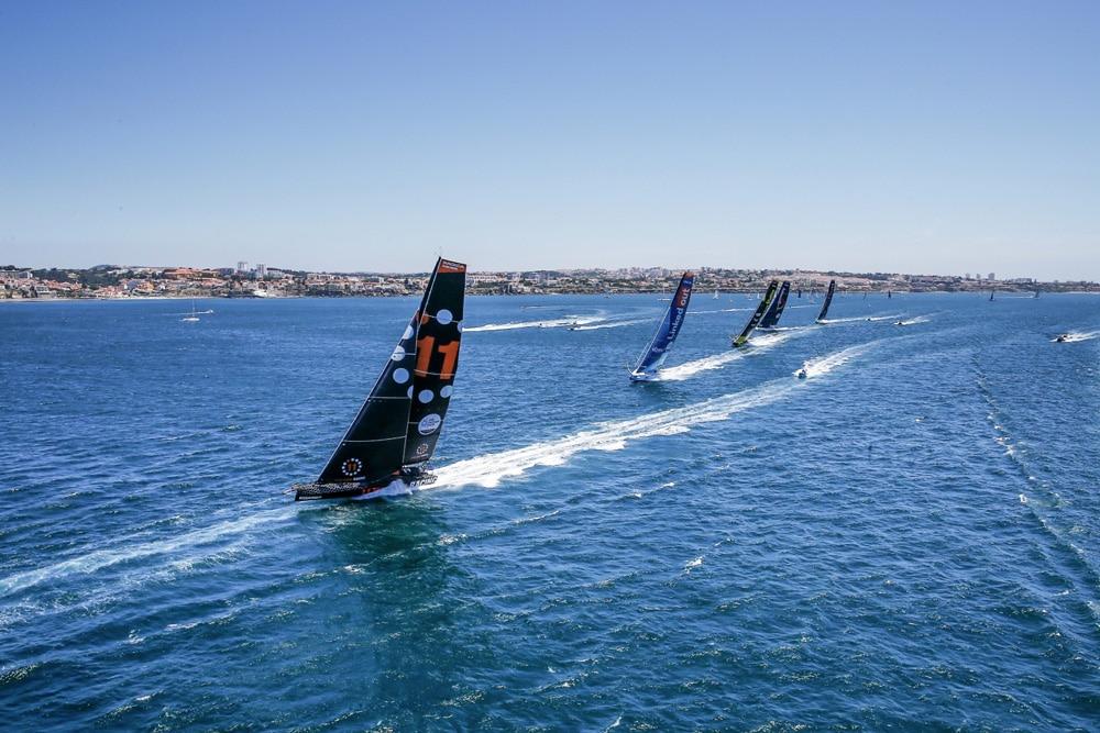 11th hour racing team lead the imoca 60 fleet in the cascais coastal race