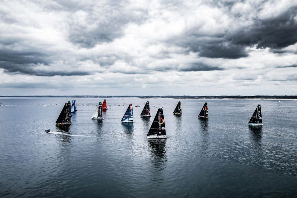 IMOCA 60s and VO65's gather in Lorient France to cross the start line of Leg 1 for The Ocean Race Europe to Cascais, Portugal.
