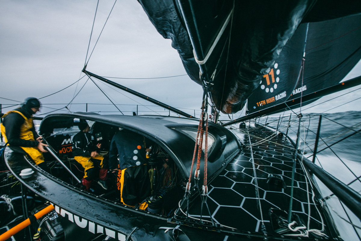 sailing fast in the cockpit on the delivery back to france - 11th Hour racing team imoca 60