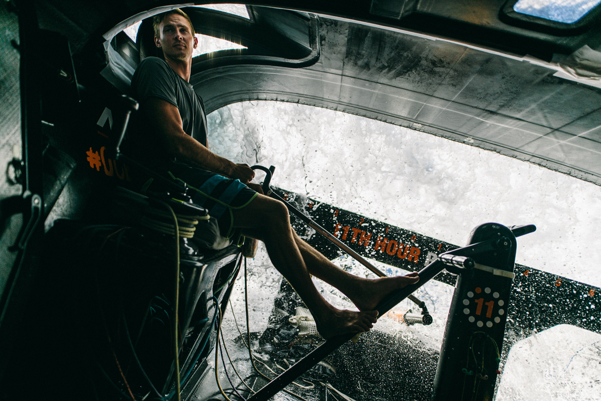 Kyle langford helming a 11th hour racing foiling imoca 60