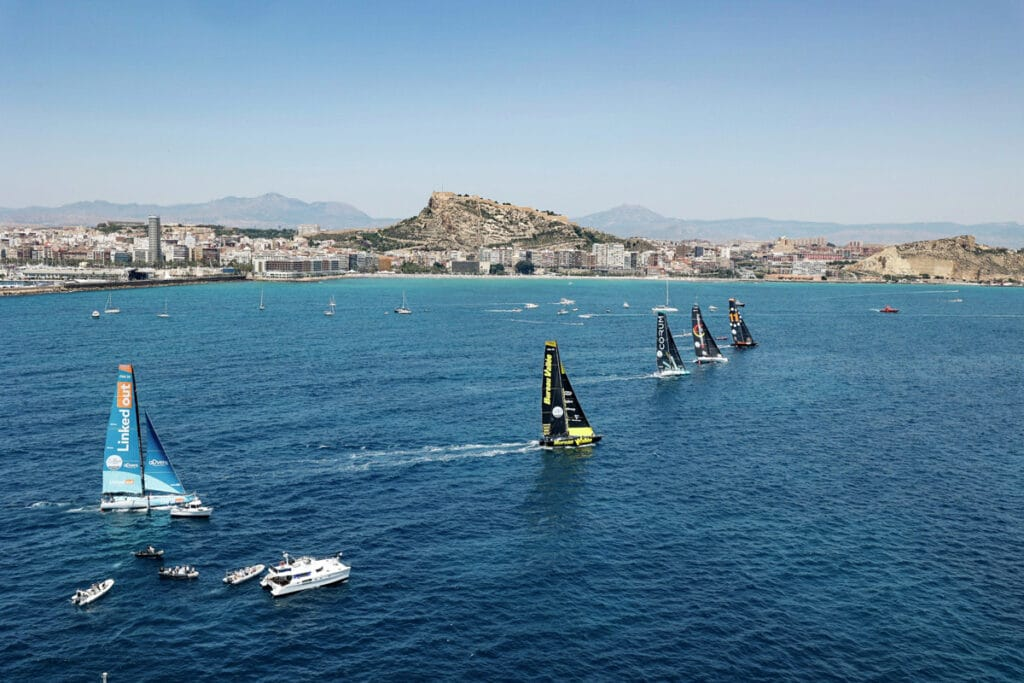 11th Hour Racing Team set sail with the IMOCA fleet for the start of The Ocean Race Europe Leg 3