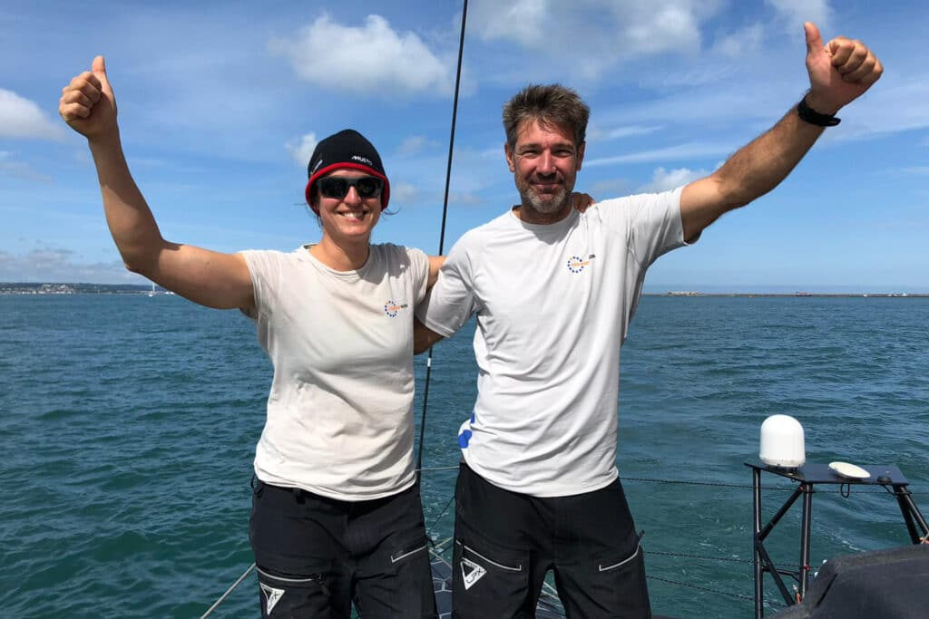 Justine Mettraux and Simon Fisher finish the 2021 Rolex Fastnet Race in third position