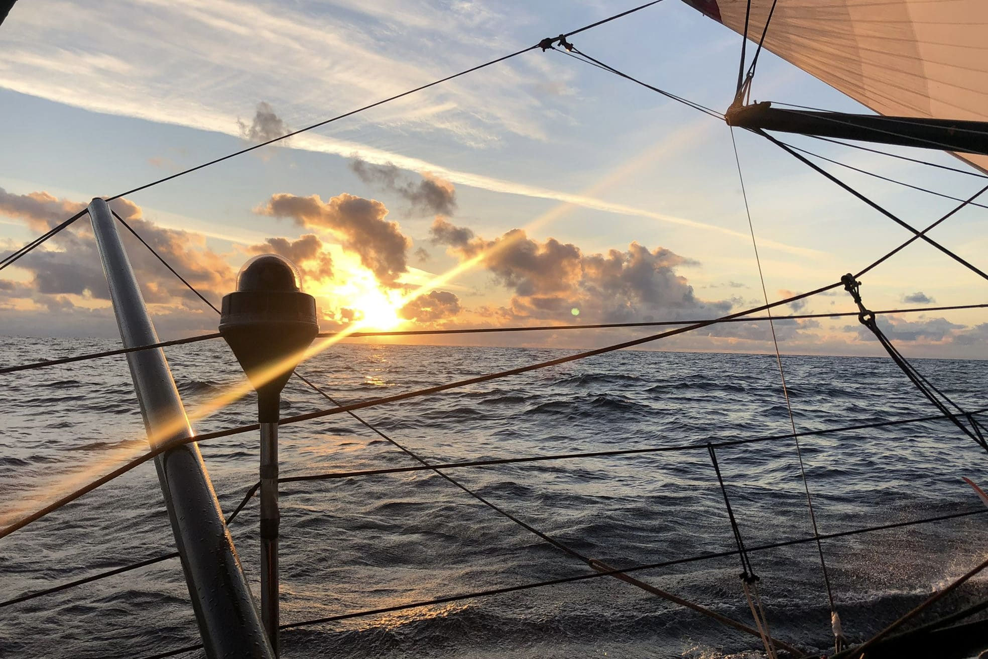 Sunrise onboard 11th Hour Racing Team during the 2021 Rolex Fastnet Race
