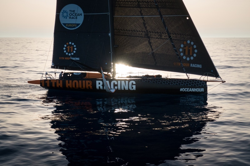 11th Hour racing Team in the Mediterranean sea with little to no wind.
